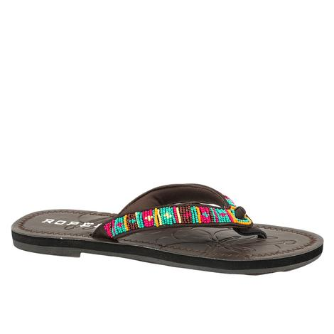 Roper Cora Brown Southwest Beaded Strap Women's Sandal