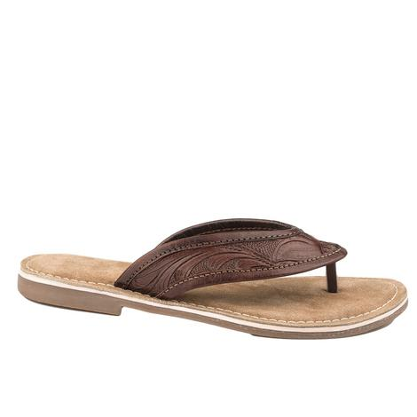 Roper Brown Hand Tooled Women's Sandals