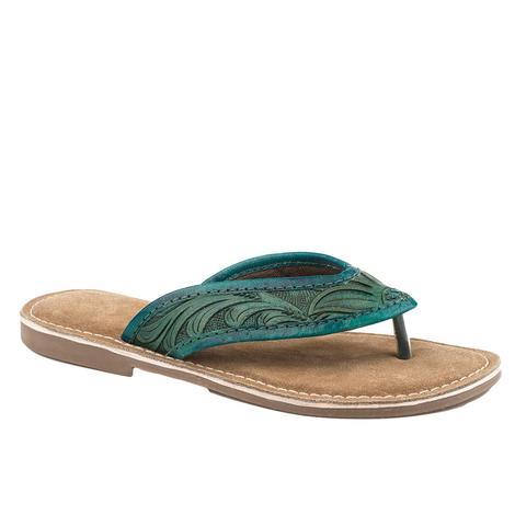 Roper Turquoise Hand Tooled Women's Sandal