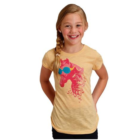 Roper Pink and Yellow Cool Pony Girl's Tee
