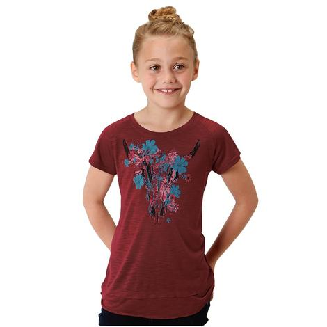Roper Red Cow Skull Girl's Tee