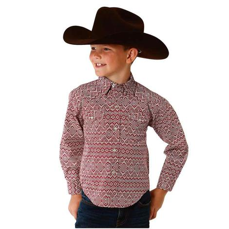 Roper Red and White Aztec Print Boy's Long Sleeve Button Down Shirt