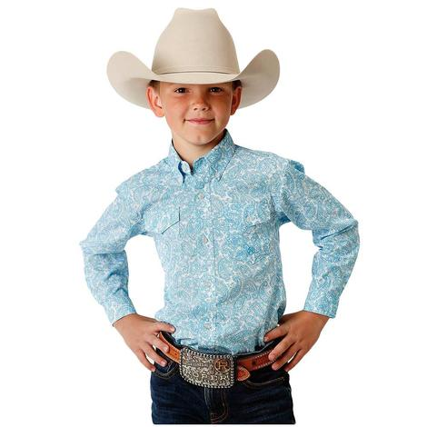 Roper Blue Paisley Long Sleeve Boy's Button Down Shirt