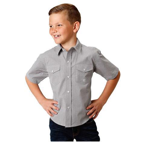 c2237058 Roper Grey Checkered Print Boy's Short Sleeve Shirt