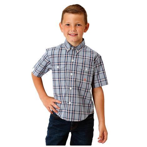 Roper Blue Plaid Short Sleeve Boy's Shirt
