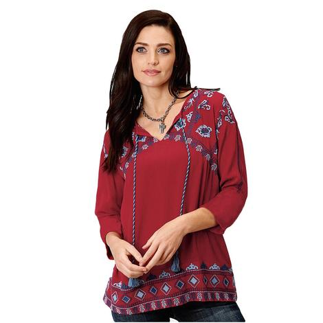 Roper Red Blue Embroidered Women's Peasant Top