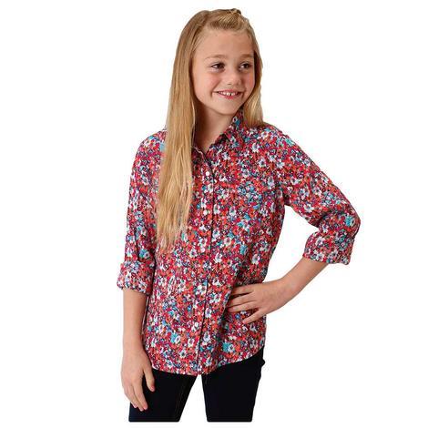 Roper Pink Floral Print Longs Sleeve Girl's Shirt
