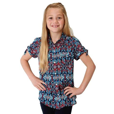 Roper Blue Floral Print Girl's Short Sleeve Button Down Shirt