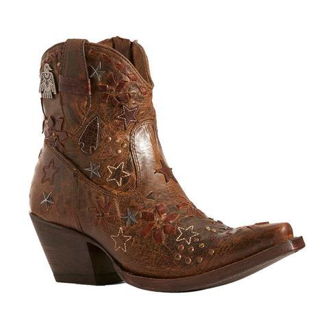 Ariat Starla Brown Star Patch Shortie Women's Boots