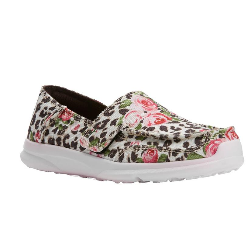 Ariat Leopard And Pink Roses Girl's Slipon Cruiser - Kid And Youth Sizes