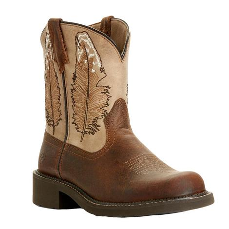 Ariat Fatbaby Heritage Dark Buffalo Brown with Golden Feather Women's Boots