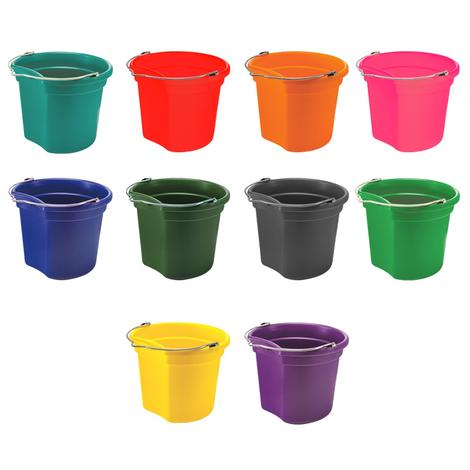 Large Economy Flat Back Bucket 18 Quart Assorted Colors