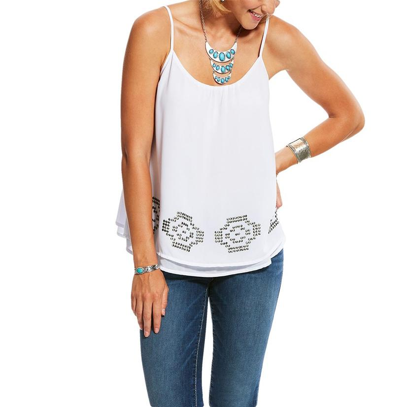 Ariat White Aztec Trim Women's Tank