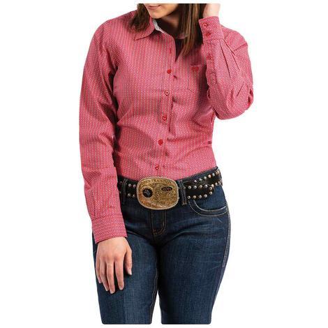 Cinch Pink Printed Long Sleeve Button Down Women's Shirt