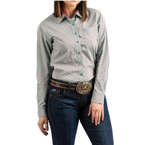 Cinch Blue and Pink Printed Long Sleeve Button Down Women's Shirt