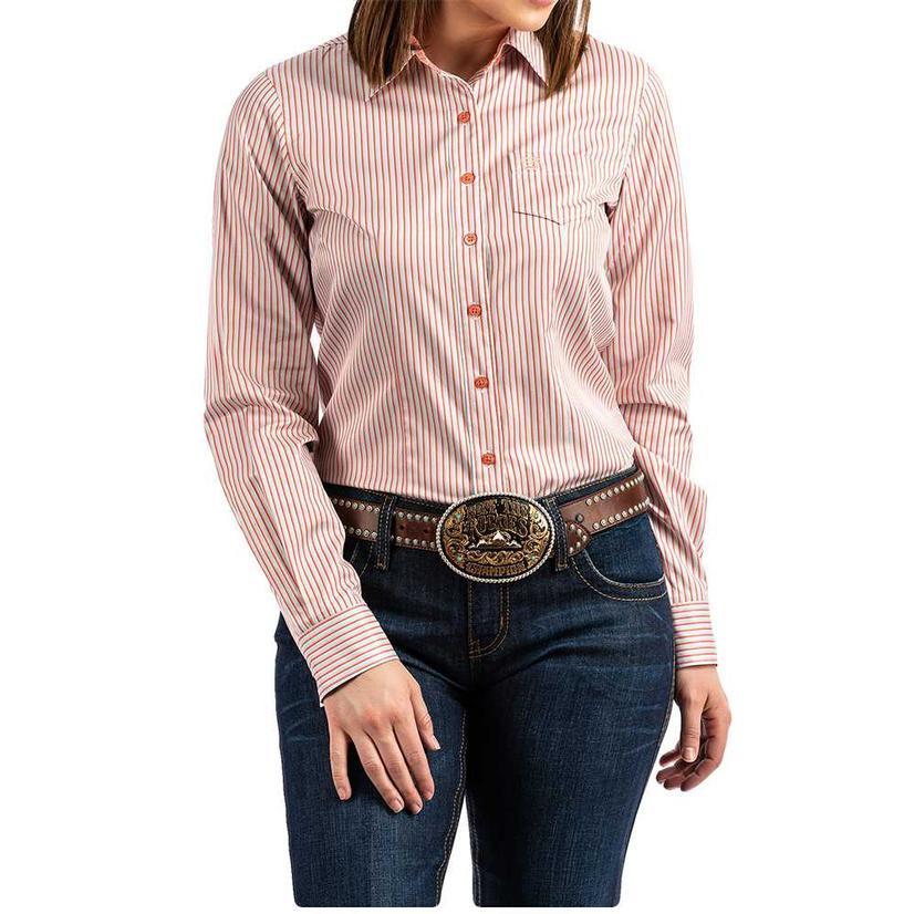 Cinch Coral Striped Long Sleeve Button Down Women's Shirt