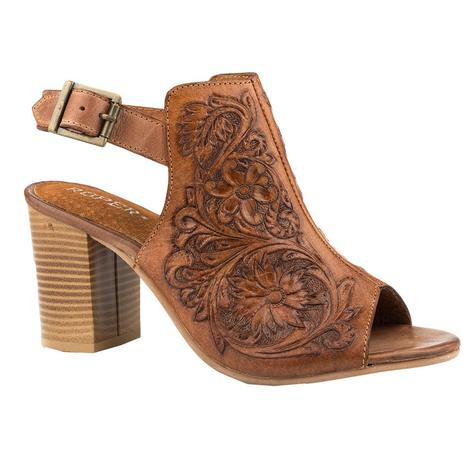 Roper Tan Tooled Women's Mule