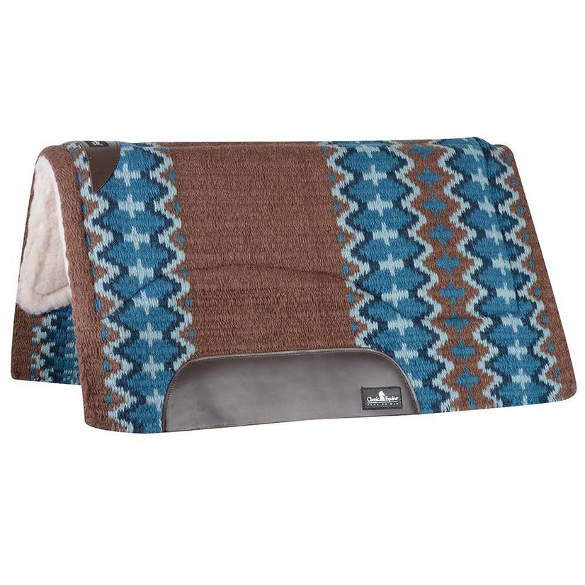 Classic Equine Sensorflex Fleece Lined Wool Top Saddle Pad 32x34 Navy Ivory or Brown Navy BROWN/NAVY