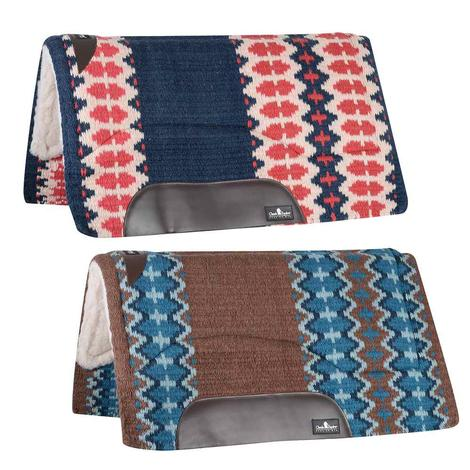 Classic Equine Sensorflex Fleece Lined Wool Top Saddle Pad 32x34 Navy Ivory or Brown Navy