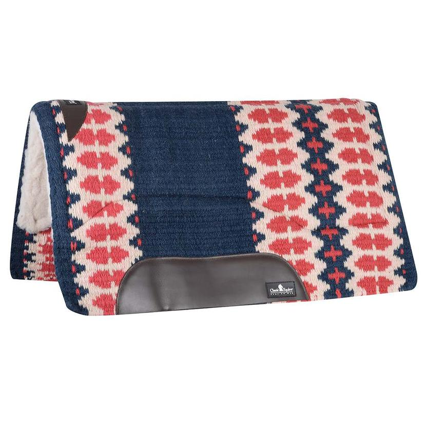 Classic Equine Sensorflex Fleece Lined Wool Top Saddle Pad 32x34 Navy Ivory or Brown Navy NAVY/IVORY