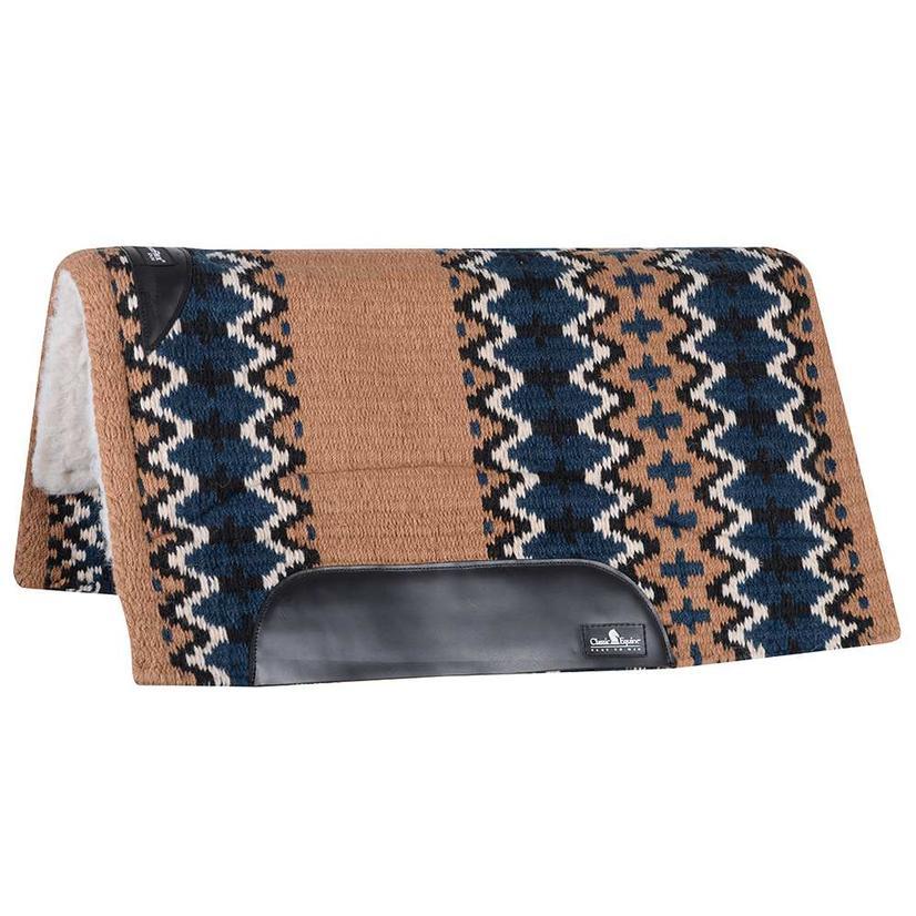 Classic Equine Sensorflex Fleece Lined Wool Top Saddle Pad 34x38 - Cream Chocolate or Sand Navy SAND/NAVY