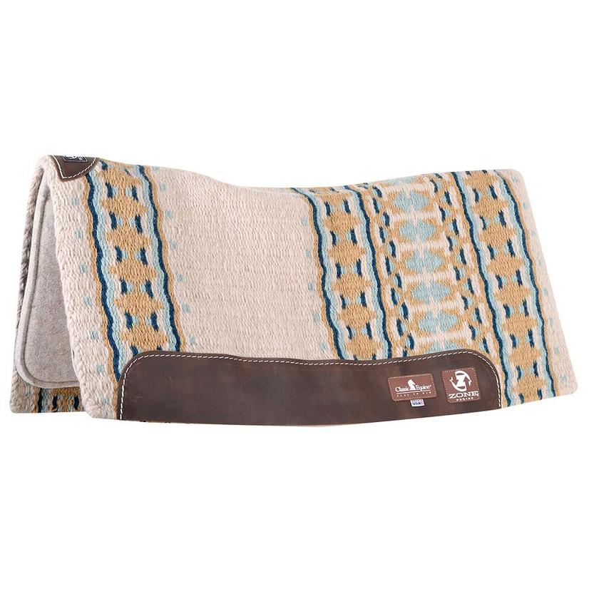 Classic Equine ZONE Wool Top Pad 32x34 - Chocolate Tan or Ivory Seafoam IVORY/SEAFOAM
