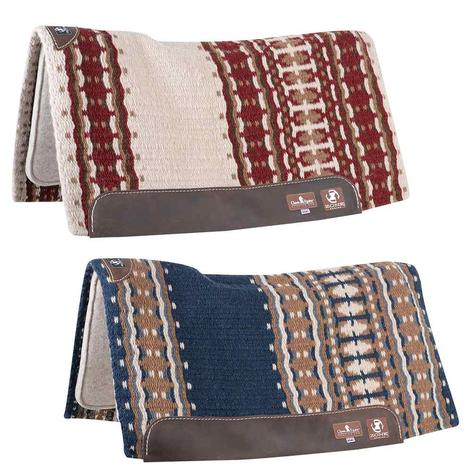 Classic Equine ZONE Wool Top Saddle Pad 34x38 - Navy Camel or Ivory Crimson