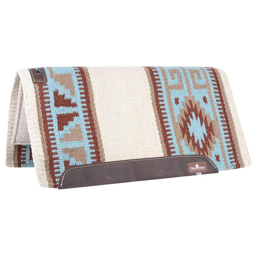 Classic Equine Wool Top Non-Contoured Saddle Pad 32x34 - Blue Brown or Black Tan BLUE/BROWN