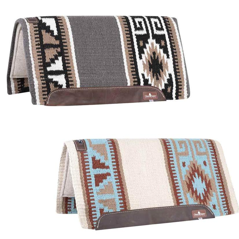 Classic Equine Wool Top Non- Contoured Saddle Pad 32x34 - Blue Brown Or Black Tan
