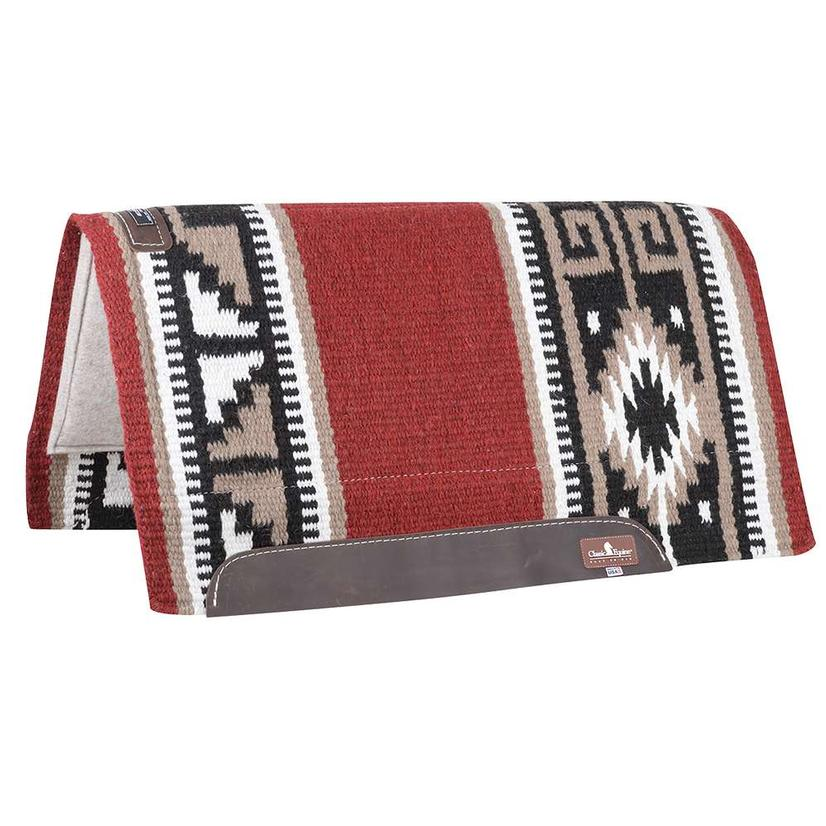 Classic Equine Wool Top Non-Contoured Saddle Pad 34x38 - Red Black or Beige Coffee RED/BLACK