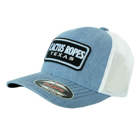 6987fc9c76303 Cactus Ropes Patch Denim Blue and White Meshback Youth Cap. HOOEY