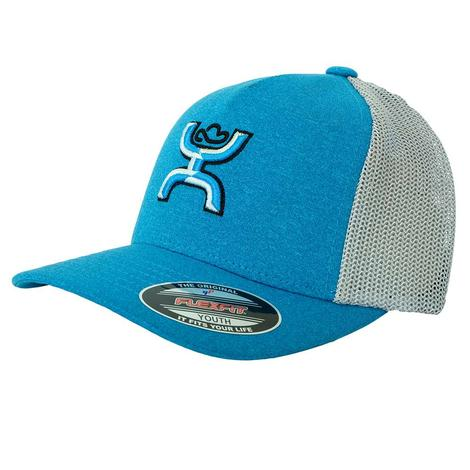 Hooey Pre-curve Coach Neon Blue Meshback Youth Cap
