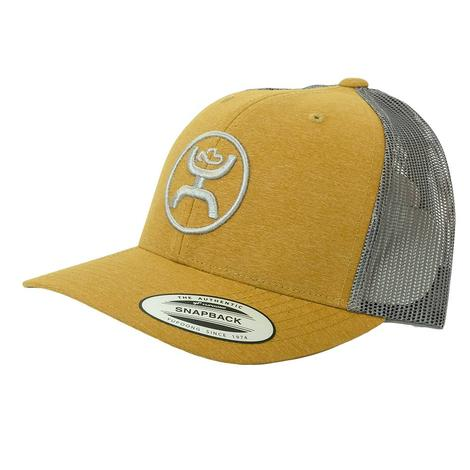 Hooey Yellow Tan Circle Brand Grey Meshback Cap