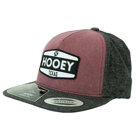 Hooey Texas Maroon Heather Grey Hybrid Bill Cap