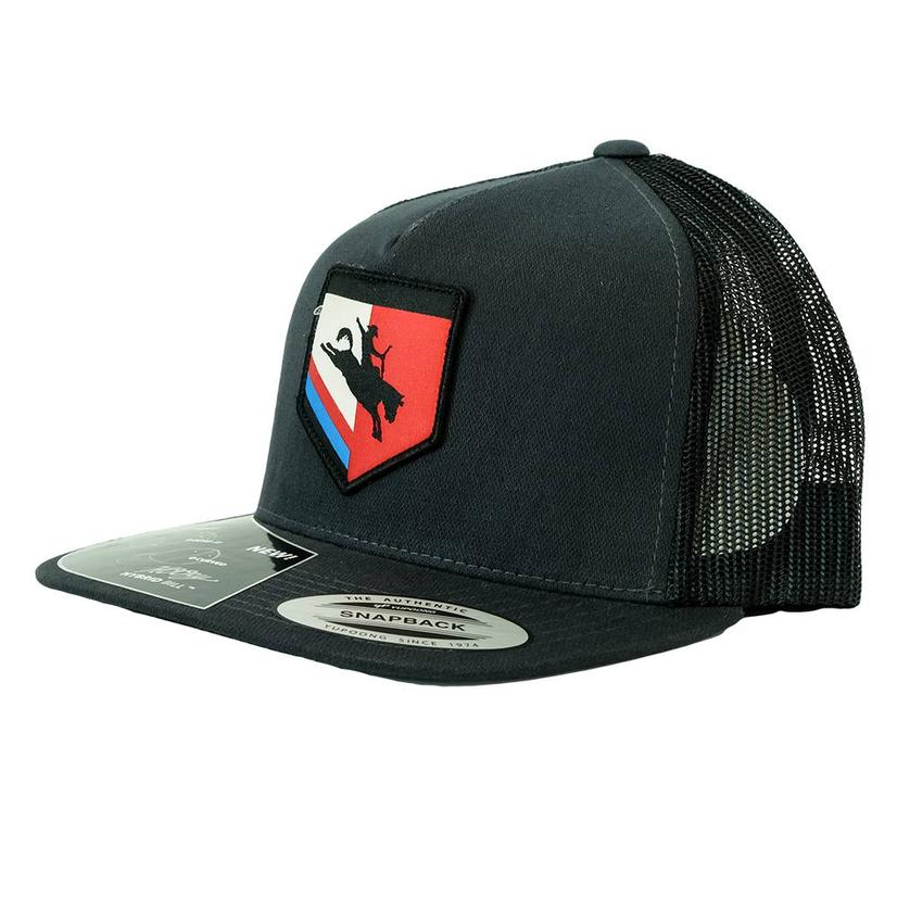 Hooey Tibbs High Profile Bronc Shield Patch Black Meshback Cap