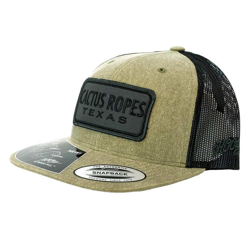Cactus Ropes Black Patch Tan Black Meshback Cap
