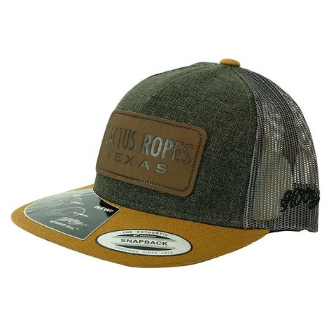 Cactus Ropes Leather Patch Green Tan Grey Meshback Cap
