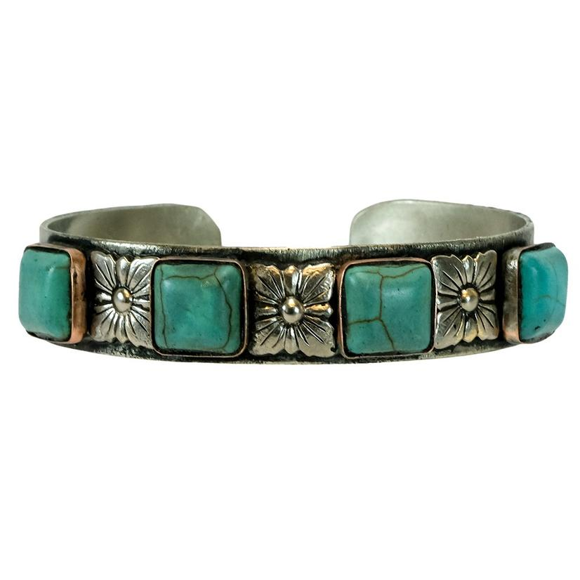 Sterling Silver And Turquoise Square Set Cuff