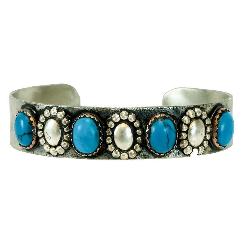 Sterling Silver And Dark Blue Oval Turquoise Set Cuff