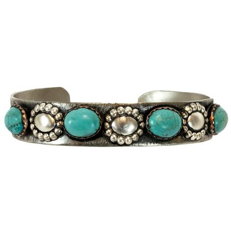 Sterling Silver and Light Turquoise Oval Set Cuff