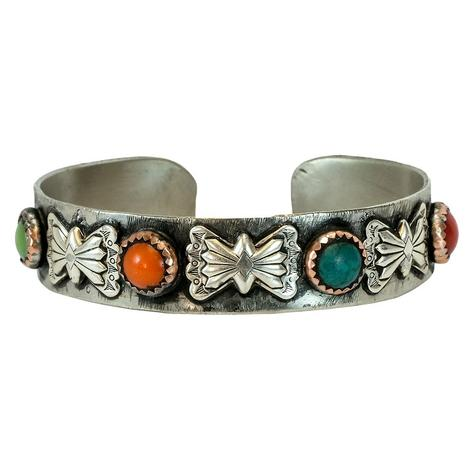 Sterling Silver and Multi Stone Set Cuff