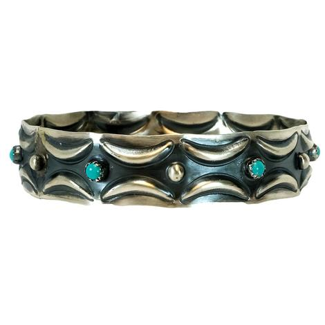 Sterling Silver Crescent and Turquoise Studded Bangle