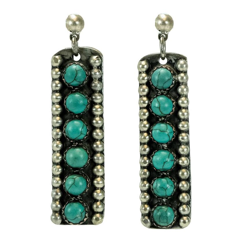 Sterling Silver And Turquoise Six Dot Stone Bar Earrings