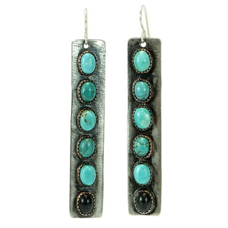 Sterling Silver and Turquoise Oval and Black Onyx Studded Bar Earrings