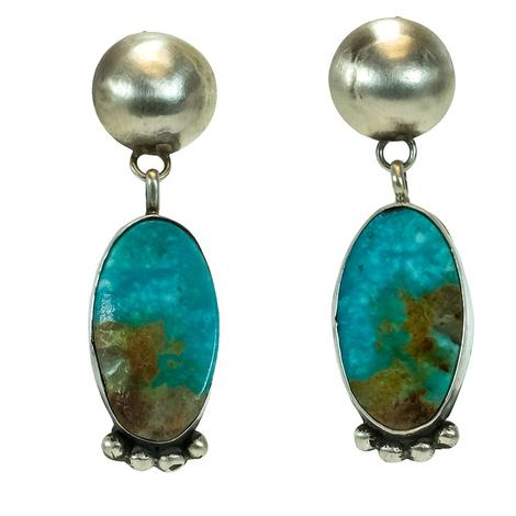 The Selinas Oval Turquoise with Sterling Silver Stud and Dot Accents