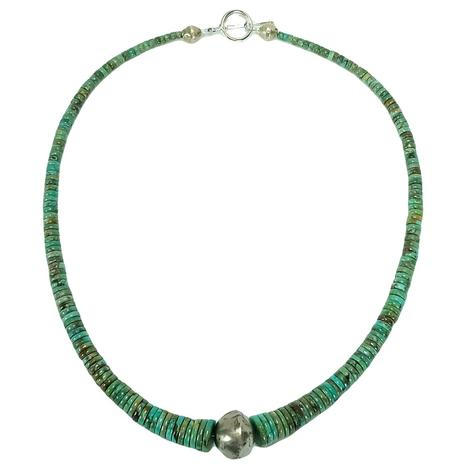 Turquoise Graduated Choker with Sterling Silver Cabochon