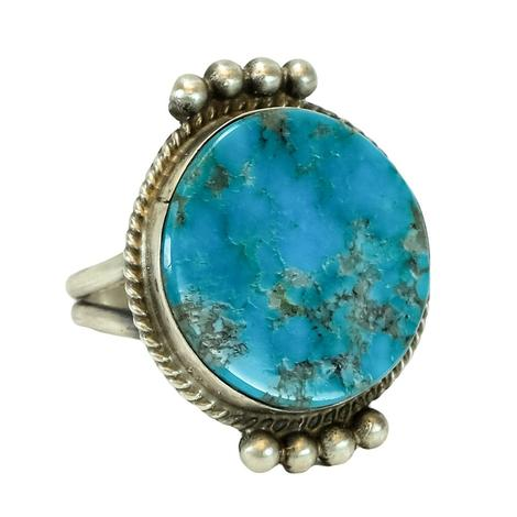 The Warner Round Turquoise and Sterling Silver Ring