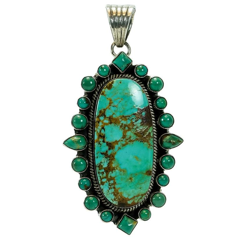 Turquoise Natural Stone Pendant With Surrounding Multi- Shaped Small Turquoise Gems