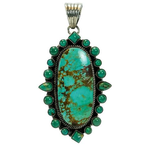 Turquoise Natural Stone Pendant with Surrounding Multi-shaped Small Turquoise Gems