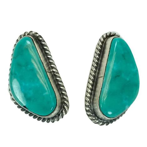 Sterling Silver and Aqua Turquoise Stone Stud Earrings